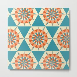 Kaleidoscope Retro Blue Metal Print