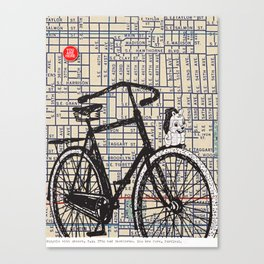 Bicycle with Mascot, S.E. 37th and Hawthorne, You Are Here, Portland. Canvas Print