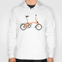 brompton Hoodies featuring Pixel Art Brompton bicycle - Orange by PixelArtM