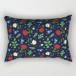 Swedish Folk Flowers Rectangular Pillow
