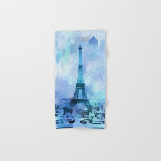 Blue Eifel Tower Paris France abstract painting Hand & Bath Towel