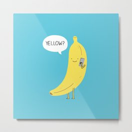 Banana on the phone Metal Print