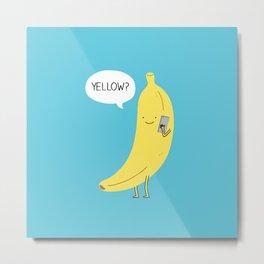 Banana on the phone Metal Print