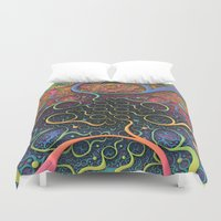 creepy Duvet Covers featuring Creepy Crawlers  by Lyle Hatch