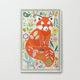 Folk red panda Metal Print