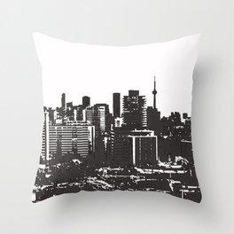 Toronto Skyline BW Throw Pillow