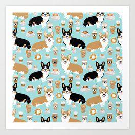 Corgis and coffee pillow phone case corgi gift cute cardigan corgi art Art Print
