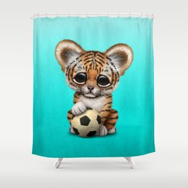 Tiger Cub With Football Soccer Ball Shower Curtain