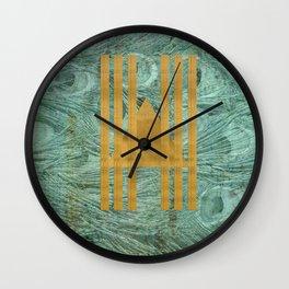 Peacock geo texture Wall Clock