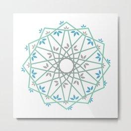 Decorative leaf Mandala Metal Print