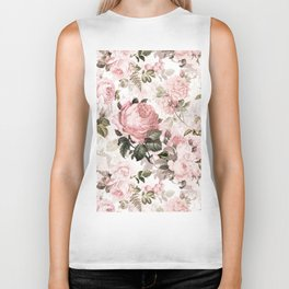 Vintage & Shabby Chic - Sepia Pink Roses Biker Tank