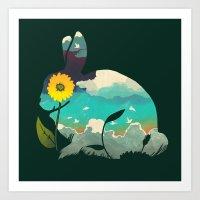 Rabbit Sky - (Forest Green) Art Print