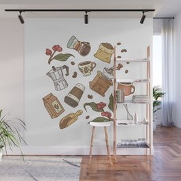 Coffee Break Pattern  Wall Mural
