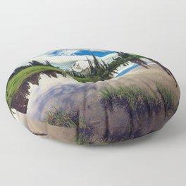 Mountain Reflections Mt Rainier Washington Floor Pillow