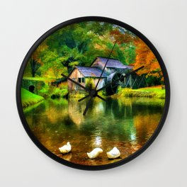 Autumn at the Mill Wall Clock