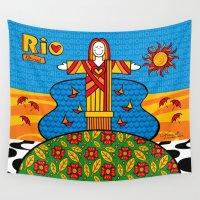 rio Wall Tapestries featuring Cristo Rio by Monica Fuchshuber