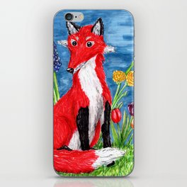 Spring Fox Surrounded by Flowers iPhone Skin
