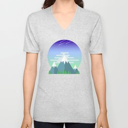 Space Mountains Unisex V-Neck