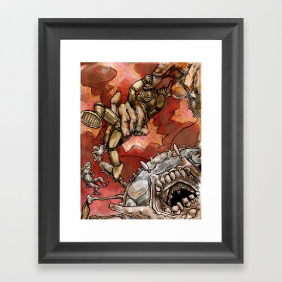 Wrestling the Clawless Crabboth for Kingship of the Seas Framed Art Print