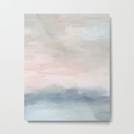 Blush Pink Mint Sky Baby Blue Abstract Ocean Sky Sunrise Wall Art, Water Clouds Painting Metal Print