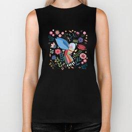 Folk Art Inspired Hummingbird With A Flurry Of Flowers Biker Tank