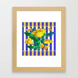 YELLOW SPRING ROSES & BUTTERFLIES WITH LILAC STRIPES Framed Art Print