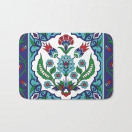 Turkish Tile Pattern – Vintage iznik ceramic with tulips Bath Mat