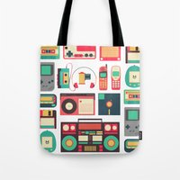 technology Tote Bags featuring Retro Technology 1.0 by Ralph Cifra