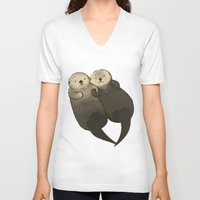 otters V-neck T-shirts featuring Significant Otters - Otters Holding Hands by StudioMarimo