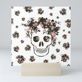 Flower Skull, Floral Skull, Pink Flowers on Human Skull Mini Art Print