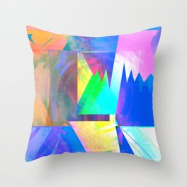 Pastel City Dreamscape Throw Pillow