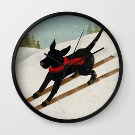 Black Dog Labrador Ski Mountain Wall Clock