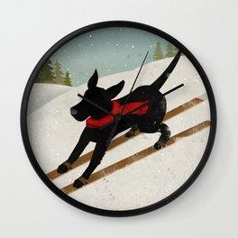 Black Dog Labrador Ski Mountain Wall Clock