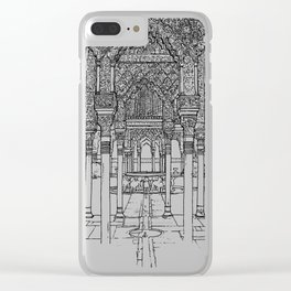 Alhambra palace, Granada, Andalucia - Spain-Black & White Clear iPhone Case