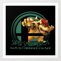 super smash bros Art Prints featuring Bowser - Super Smash Bros. by Donkey Inferno