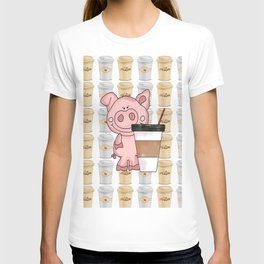 Mr Pig Loves His Coffee T-shirt
