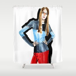 Fashion #16. Long-haired girl in fashionable dress-transformer Shower Curtain