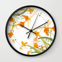 Atom Flowers #27 Wall Clock