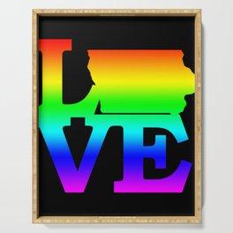 Iowa Pride USA State Love Map Serving Tray