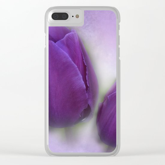 tulips on marble background Clear iPhone Case