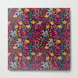 Autumn seamless pattern with floral decorative elements, colorful design Metal Print