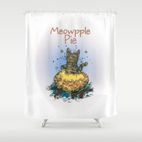pie Shower Curtains featuring Meowpple Pie by Andrea Montano