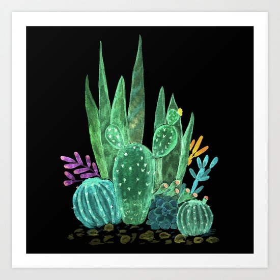 Cacti and succulents on a black background. Art Print