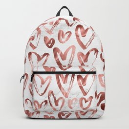 Rose Gold Love Hearts on Marble Backpack
