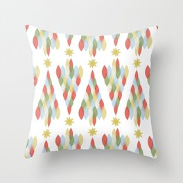 Modern Minimalist Holiday Christmas Tree in Muted Colors Red Green Blue Gold Throw Pillow