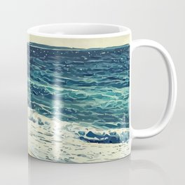 The beach and the sea at Cannes French Riveria Coffee Mug