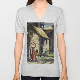 African American Portrait 'Gas Station, Eatonville' by J. Andre Smith Unisex V-Neck