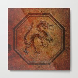 Distressed Chinese Dragon In Octagon Frame Metal Print