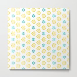 Spring Yellow Blue Flower Pattern Metal Print