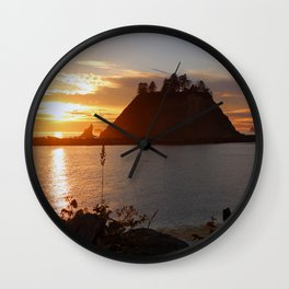 An Amazing Sunset Over First Beach Wall Clock